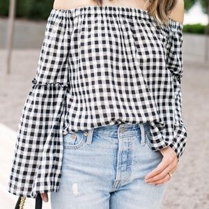 Who What Wear Gingham Off Shoulder Top
